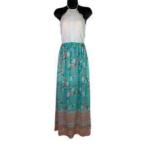 Trixxi Maxi Dress Aqua Peach Floral Halter